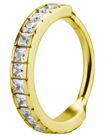 cubic cristal anneaux doré